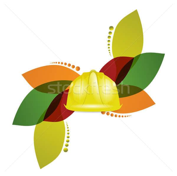 construction helmet and floral design Stock photo © alexmillos