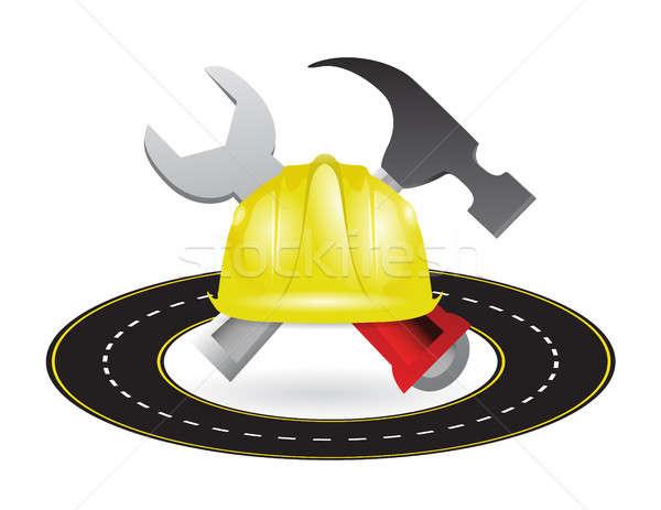 Snelweg wegenbouw illustratie ontwerp bouw witte Stockfoto © alexmillos