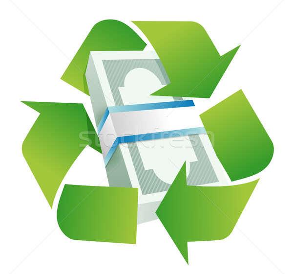 Recycleren monetair illustratie ontwerp witte teken Stockfoto © alexmillos