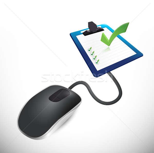 Souris enquête questionnaire illustration design ordinateur Photo stock © alexmillos