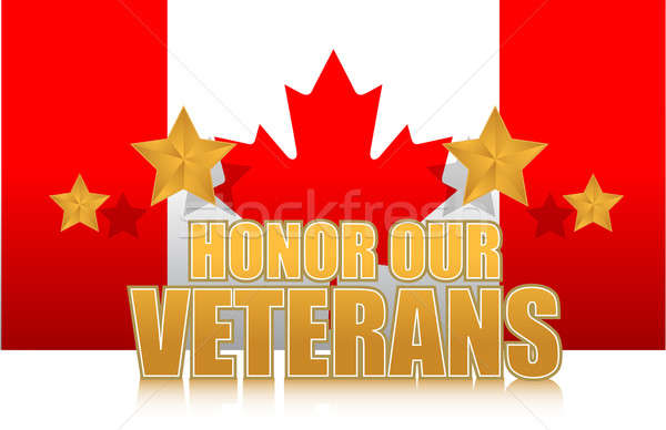 canada honor our veterans gold illustration sign design on white Stock photo © alexmillos