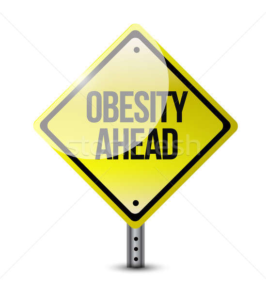 obesity ahead road sign illustration design over a white backgro Stock photo © alexmillos