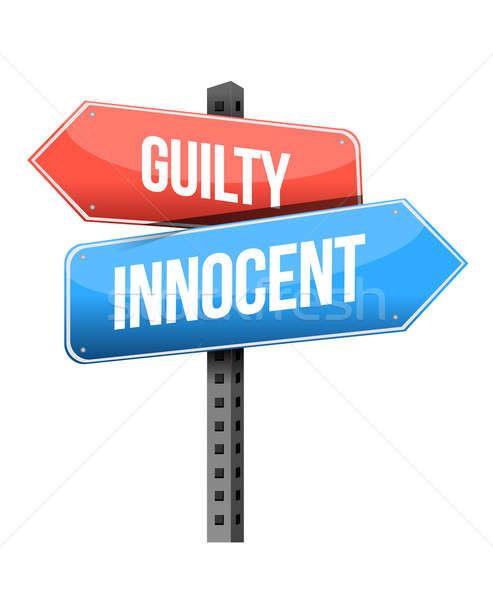 Culpado inocente placa sinalizadora ilustração projeto branco Foto stock © alexmillos