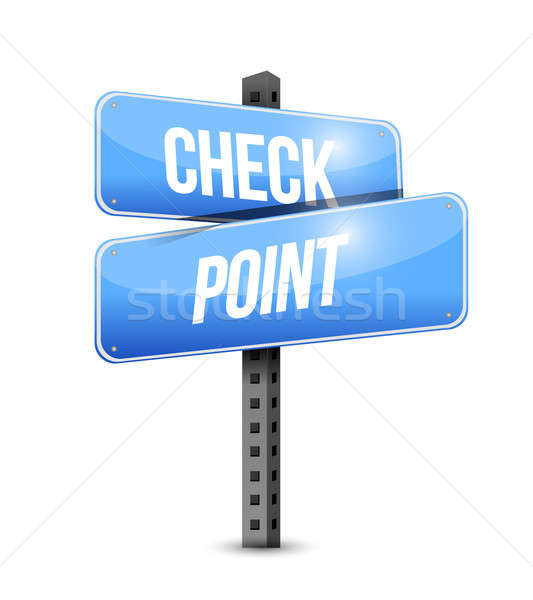 check point road sign illustration design over a white backgroun Stock photo © alexmillos
