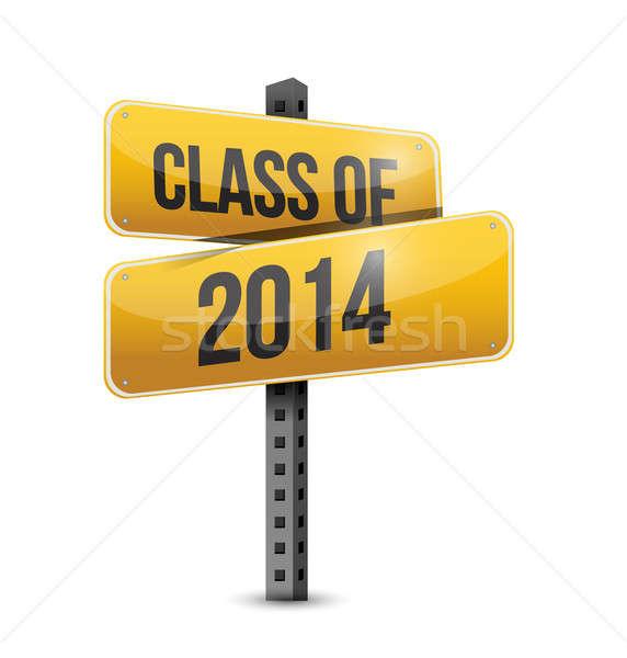 Stock fotó: Osztály · 2014 · jelzőtábla · illusztráció · terv · fehér