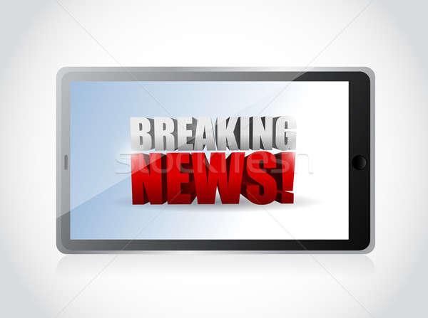 ニュース速報 にログイン タブレット 実例 デザイン 白 ストックフォト © alexmillos