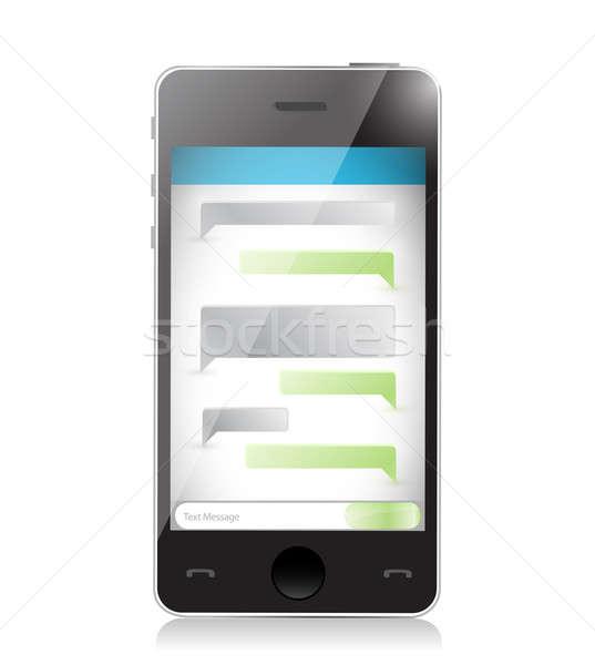 Szöveges üzenet kommunikáció okostelefon illusztráció terv fehér Stock fotó © alexmillos
