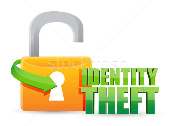 Photo stock: Vol · d'identité · or · lock · illustration · design · blanche