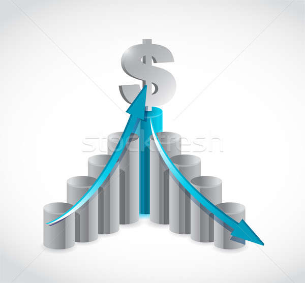 Stock photo: business dollar graph illustration design over a white backgroun