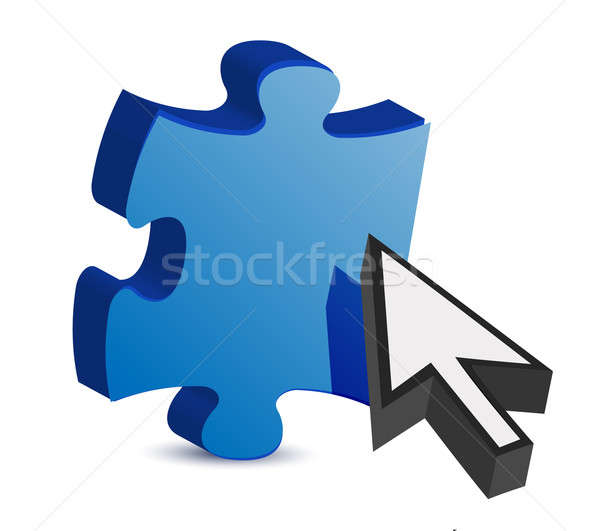puzzle piece and a cursor illustration design over white Stock photo © alexmillos