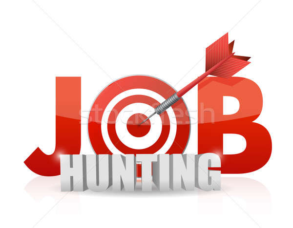 Phrase Job Hunting isolated on white. target and dart. illustrat Stock photo © alexmillos