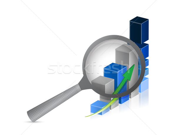 Business success bar graph with magnifying glass illustration de Stock photo © alexmillos