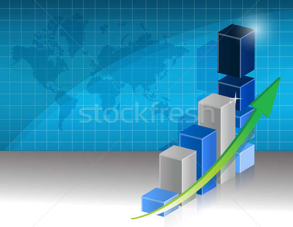 successful business graph illustration design and world map Stock photo © alexmillos