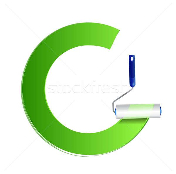 Frame verf groene illustratie ontwerp witte Stockfoto © alexmillos
