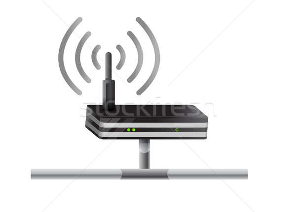 Wireless Router Netzwerk Illustration Design weiß Stock foto © alexmillos
