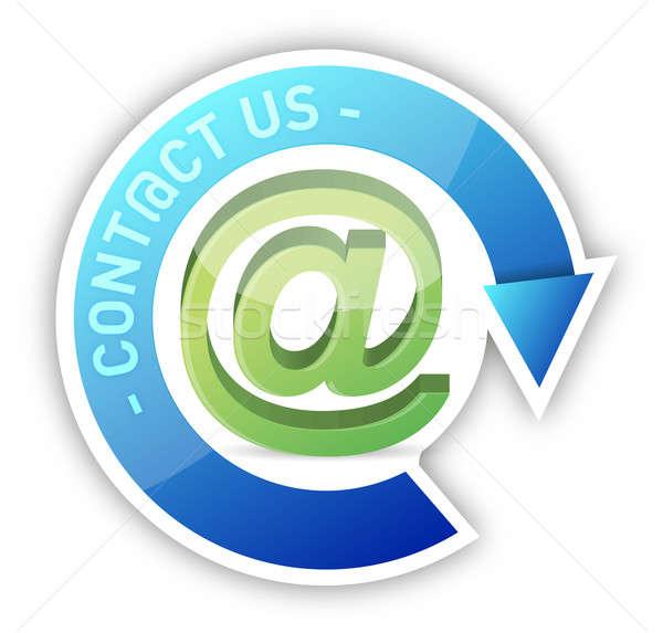 Kapcsolatfelvétel felirat háló kék posta kulcs Stock fotó © alexmillos