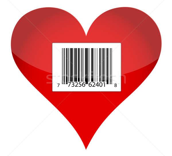 Barcode coeur illustration design texture rouge Photo stock © alexmillos