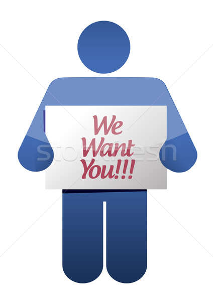 we want you message illustration design over white Stock photo © alexmillos