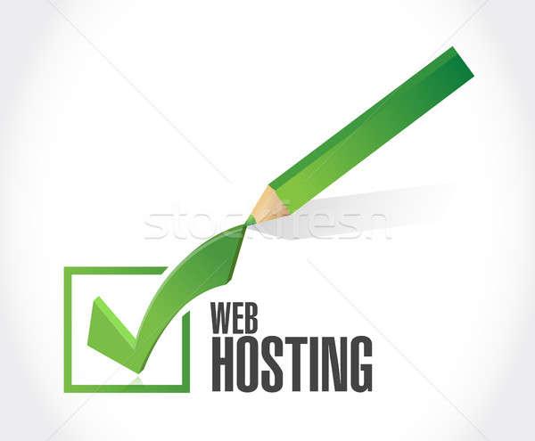 Web hosting check mark sign concept Stock photo © alexmillos
