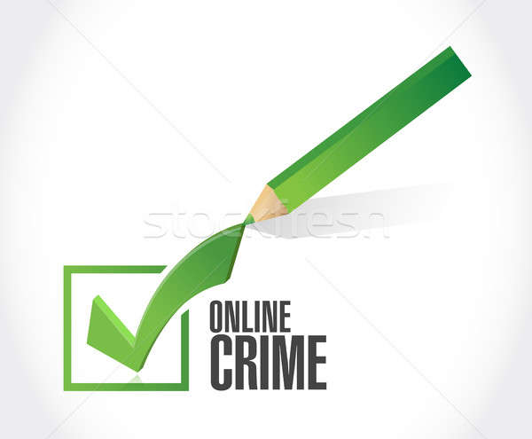 Online bűnözés csekk osztályzat felirat illusztráció Stock fotó © alexmillos