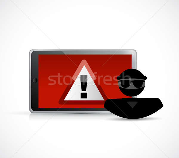 Security warning. Hacker and tablet. Stock photo © alexmillos