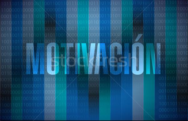Motivatie binair teken spaans illustratie ontwerp Stockfoto © alexmillos
