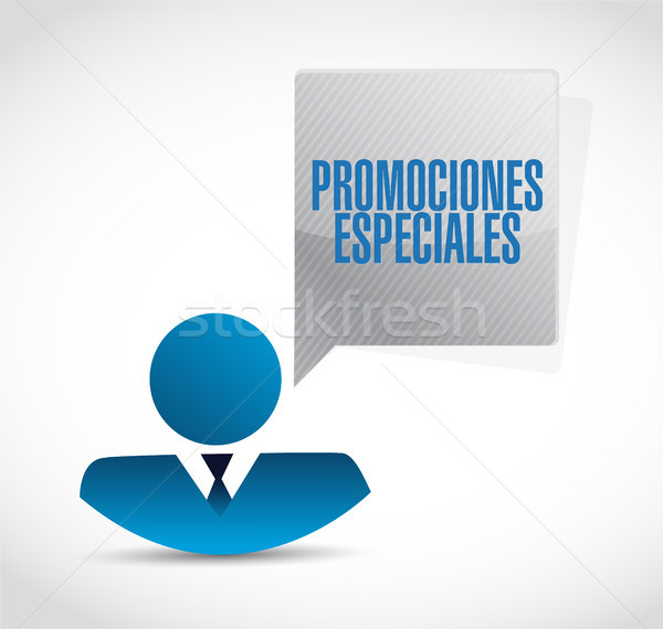 special promotions in Spanish businessman sign concept Stock photo © alexmillos