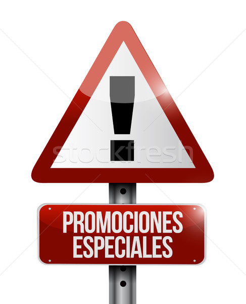 special promotions in Spanish warning sign concept Stock photo © alexmillos