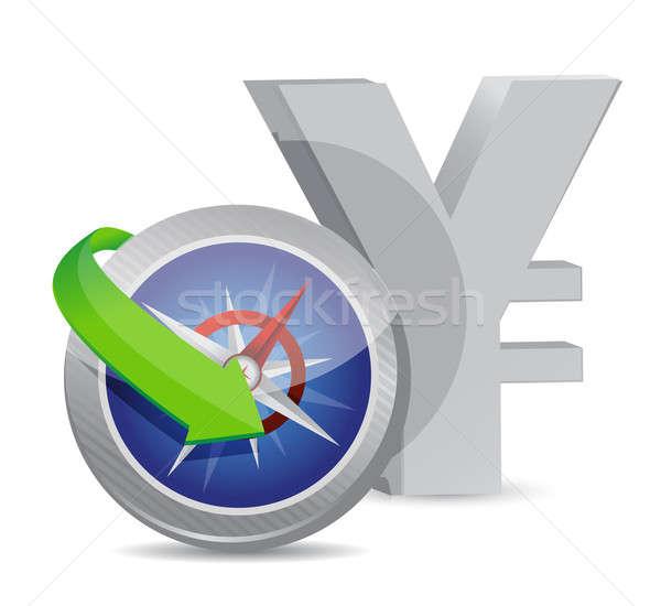 Jen kompas waluta wymiany kierunku ilustracja Zdjęcia stock © alexmillos