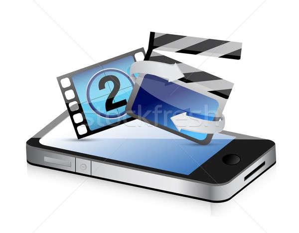 Telefoon film bioscoop illustratie ontwerp witte Stockfoto © alexmillos