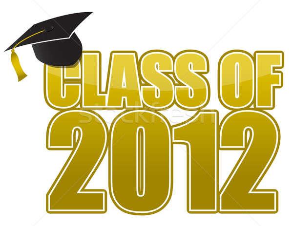 Graduação 2012 boné isolado branco escolas Foto stock © alexmillos