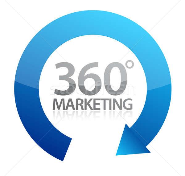 360 degrees marketing illustration design on white Stock photo © alexmillos