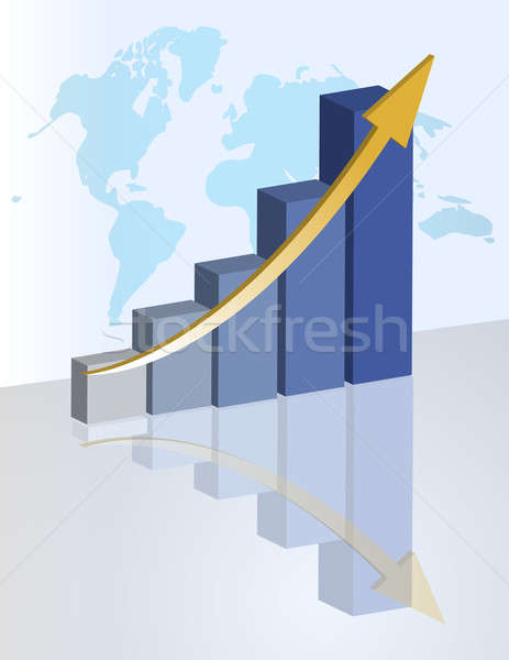 Business graph with world background. Stock photo © alexmillos