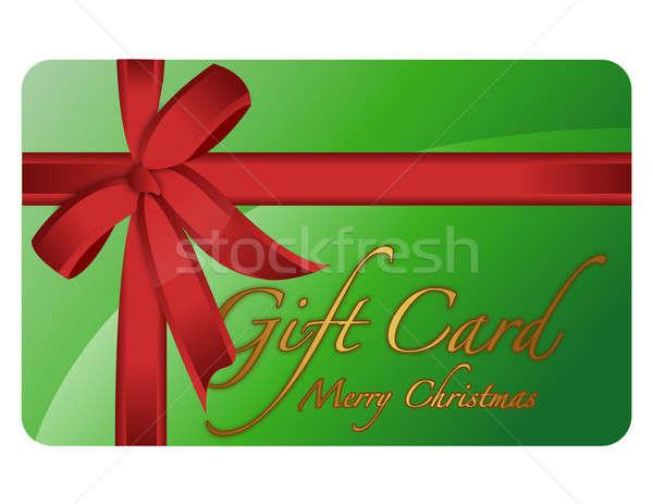 Verde alegre Navidad tarjeta de regalo dinero Foto stock © alexmillos