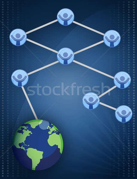 Redes gráfico de negocio aislado blanco negocios luz Foto stock © alexmillos