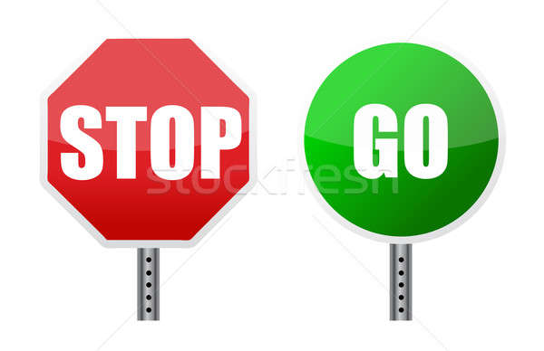 stop go sign illustrations over a white background Stock photo © alexmillos
