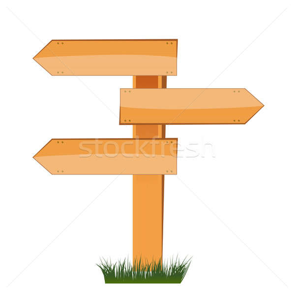 three empty arrow sign made out of wood on a patch of grass. Stock photo © alexmillos