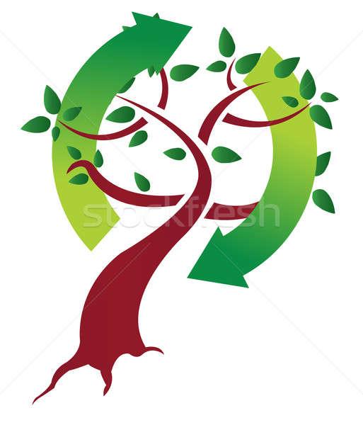 écologique arbre illustration design blanche monde Photo stock © alexmillos