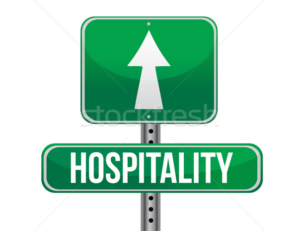 hospitality road sign illustration design over a white backgroun Stock photo © alexmillos