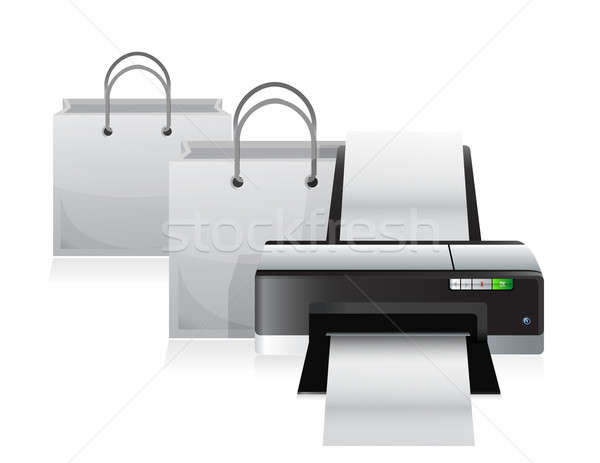printer and shopping bags illustration design over a white backg Stock photo © alexmillos