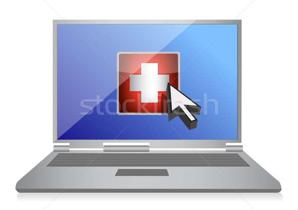 laptop and medical symbol button illustration design over white Stock photo © alexmillos