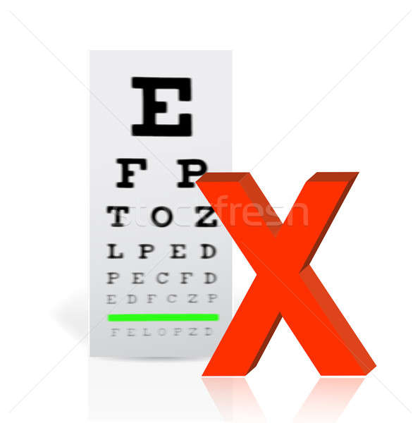 Medical Eye Chart with a x mark. poor vision concept illustratio Stock photo © alexmillos