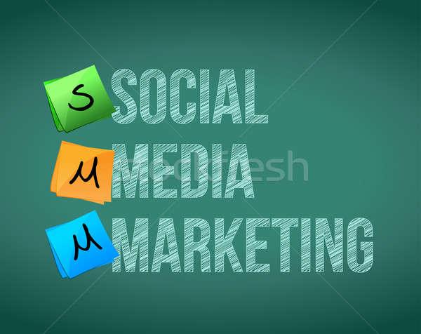 social media marketing and posts on a blackboard Stock photo © alexmillos
