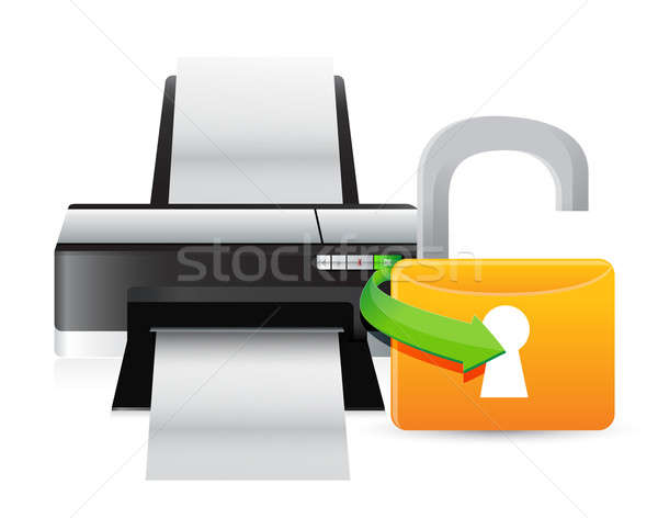printer unlock illustration graphic design over a white backgrou Stock photo © alexmillos