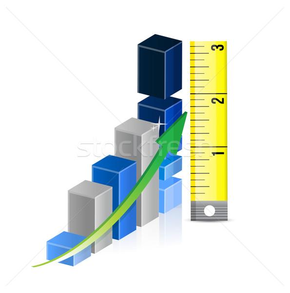Cinta métrica gráfico de barras ilustración trabajo fondo azul Foto stock © alexmillos