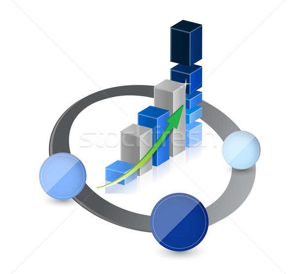 üzleti grafikon diagram láncszem üzlet bár pénzügy Stock fotó © alexmillos