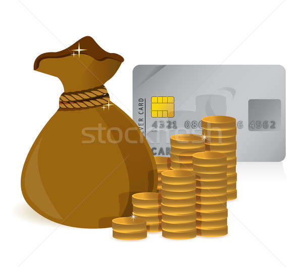Stacks of coins, money bag and a credit card Stock photo © alexmillos