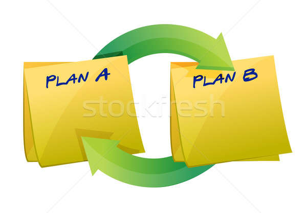 Plans post cycle illustration design over white Stock photo © alexmillos