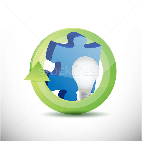 Puzzle piece and lightbulb illustration Stock photo © alexmillos