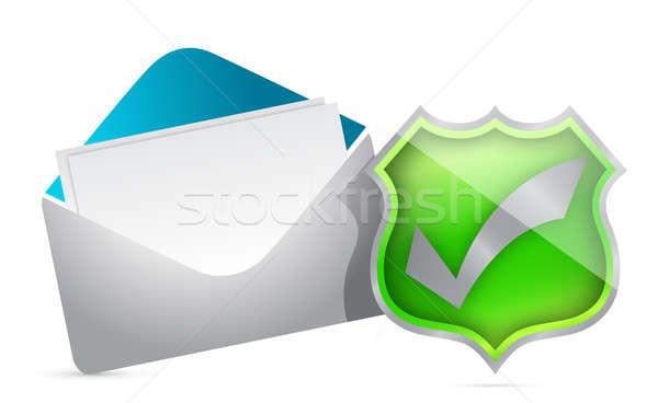 Mail schild goedkeuring internet teken communicatie Stockfoto © alexmillos